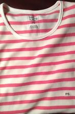 Hasting & Smith Petites Mauve Ivory Stripe 3/4 Sleeve PullOver Top Women PS NWT