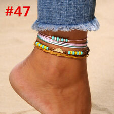 UK Women Ankle Bracelet 925 Sterling Silver Anklet Foot Chain Boho Beach Beads ~