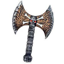 "Halloween 13"" Skull Axe Viking Warrior Toy Weapon Fancy Dress Accessory Prop New"
