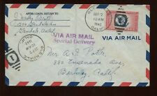 US Air Mail Special Delivery (CE2) Cover 1942 Glendale, Calif to Berkeley, Calif
