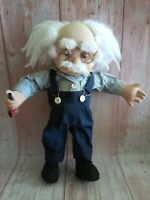 Vintage Handmade Grandpa Doll With Wooden Pipe Glasses Outfit 14""