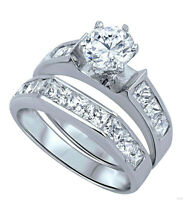 Brilliant Engagement Wedding Princess Clear CZ Sterling Silver Ring Set