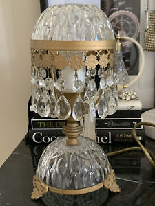 FRENCH DOME CRYSTAL BOUDOIR CHANDELIER TABLE LAMP MADE IN FRANCE, PRISMS Vintage