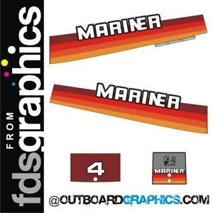 Mariner 4hp rainbow outboard engine decals/sticker kit