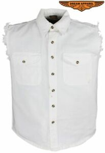 Men's Motorcycle Denim White Sleeveless Shirt with Buttoned Front Closure