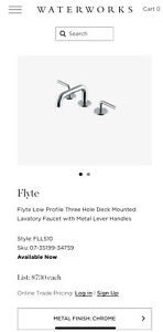 Waterworks Flyte Low Profile 3 Hole Deck Mounted Faucet W Metal Lever Handles