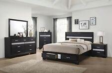 GLITTERY 4 PC BLACK 3D FOIL QUEEN STORAGE N/S DRESSER BED BEDROOM FURNITURE SET