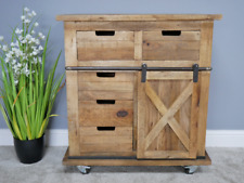 INDUSTRIAL IRON WORKS STYLE RUSTIC WOODEN SIDEBOARD, Mango Wood Cabinet