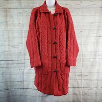 Aran Craft Womens Duster Cardigan Sz Large Red Merino Wool Button Front