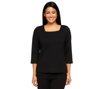 Joan Rivers Wardrobe Builders 3/4 Sleeve Square Neck Top Size XS Black Color