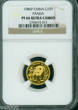 1986-P PROOF GOLD 1/10 Oz PANDA NGC PF66 PR66 CHINA 10Y