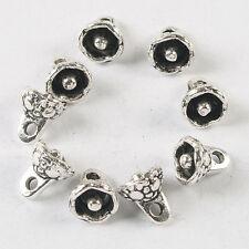 40pcs dark silver  7.7mm flower pendant charm h3674