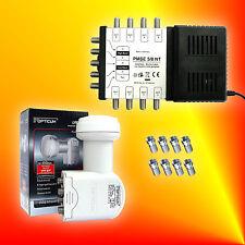 SET: PMSE 5/8 NT MULTISCHALTER + OPTICUM Premium QUATTRO LNB + 8x F-Stecker | HD