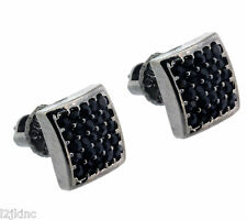 Mens Black Finished 8mm MicroPave Square Lab Cz Screw Back Stud Earrings 2