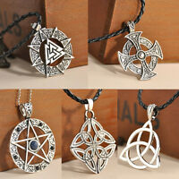 Retro Symbol Trinity Pewter Celtic Knot Solar Cross Star Pendant Chain Necklace