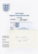 John Angus Inglaterra International 1961 Original Corte/tarjeta firmada a mano
