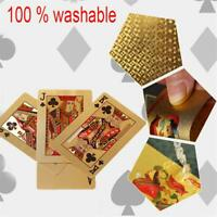 Waterproof 24K Gold Foil Plated Cover Poker 54 Playing Cards Table Games Party