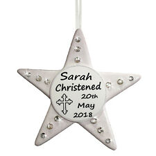 Christening - Personalised Star with Cross - Religious Gift by Truly for You