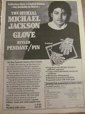 Michael Jackson, Glove Pin, Full Page Vintage Print Ad