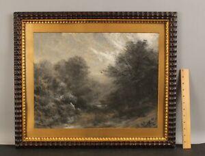 19thC Antique American Folk Art Painting, Picking Berries, Dutch Ripple Frame NR