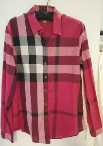 Burberry Brit pink black check cotton tailored panelled button down shirt LG NEW