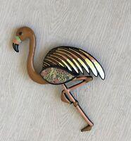 Vintage style Large flamingo brooch pin in enamel on metal
