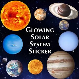 Glow In The Dark SOLAR SYSTEM Luminous Wall Sticker Space Planet Kids Room Decal