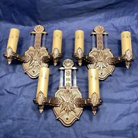 Wired Set Of 3 Three Antique Art Deco Wall Sconces Fixtures Rare 95C