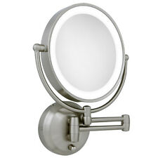 Zadro 10X / 1X LED Lighted Round Satin Nickel Wall Magnifying Mirror