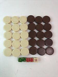 Vintage Backgammon Pieces 15 Brown, 15 Cream/White