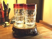 Vintage Kings Crown Thumbprint Indiana Red Ruby Water Glass Set of Two (2) Each