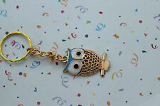 POPULAR OWL GOLD TONE AND BLUE  KEY RING,FREE POST