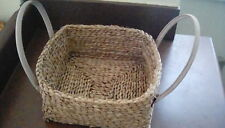 Wicker  Square Basket Storage W Handles  Wood