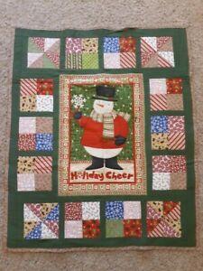 "Lap Quilt, 41"" x 49"", Christmas Snowman Holiday Cheer, Gingerbread Man HANDMADE"