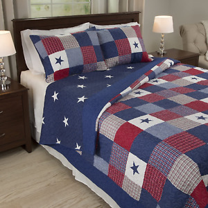 King Size Americana Bedding Stars 3-pc Quilt Set Red White and Blue Country NEW