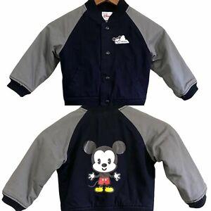 Disney Mickey Logo Chest Back Kids Snap Up Black Pockets Varsity Jacket Size XXS