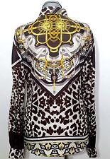 ROBERTO CAVALLI Bluse Seide Shirt  Silk Animal Leo Print DE 36 IT 42 UVP 414€!