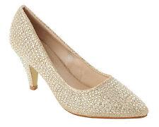 Para Mujer de Oro Estrás Diamante Nupcial Noche Boda Tribunal Zapatos Damas Tamaño