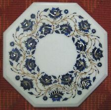 15 Inches White Coffee Table Octagon Corner Table Top with Semi Precious Stones