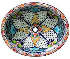 #100) MEDIUM 17x14 MEXICAN BATHROOM SINK CERAMIC DROP IN UNDERMOUNT BASIN