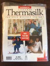 NEW Women's Natural White L Large Terramar THERMASILK 100% Pure Silk Pant Pants