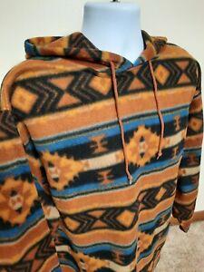 Mens Large  Southwestern Aztec Navajo Pattern Fleece Hoodie Denim Express Vtg