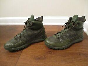 Used Worn Size 10.5 Nike Lupinek Flyknit Shoes Cargo Khaki Sequoia 862505 300