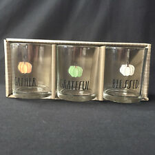 Rae Dunn Grateful Gather Blessed Pumpkins Fall Glass Candle Votive New In Box