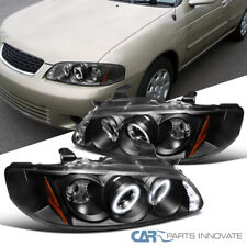 For Nissan 00-03 Sentra LED Halo Black Projector Headlights Head Lights Lamps