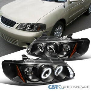 For 00-03 Nissan Sentra LED Halo Black Projector Headlights Head Lamp Left+Right