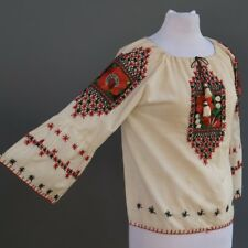 Vtg 50s 60s Frida Khalo Style Mexican Peasant Blouse Embroidered Dress Top M L