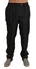 NEW $650 DOLCE & GABBANA Pajama Pants Lounge Black Polka Dot 100% Silk IT46/W32