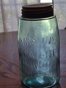 "Antique aqua quart size fruit jar ~ MASON'S  PATENT NOV 30 TH 1858 /180 ~ ""NICE"""