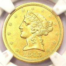 1843-O Liberty Gold Half Eagle $5 Coin - NGC Uncirculated Detail (UNC MS) - Rare